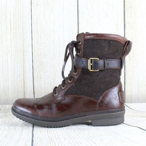 UGG Kesey Boots Brown Leather Lined Boots Size 6